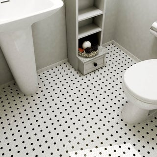 SomerTile 9.875x11.5-in Victorian Penny 3/4-in Matte White Black Dot Porcelain Mosaic Tile (Pack of