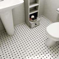 SomerTile 9.75x11.5-inch Victorian Penny White and Black Dot Porcelain Mosaic Floor and Wall Tile (10 tiles/8 sqft.)