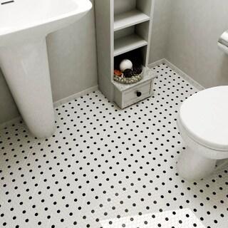 SomerTile 9.875x11.5-in Victorian Penny 3/4-in Matte White Black Dot Porcelain Mosaic Tile (Pack of