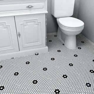 SomerTile 9.875x11.5-in Victorian Penny 3/4-in Matte White Black Flower Porcelain Mosaic Tile (Pack