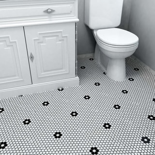 SomerTile 9.875x11.5-in Victorian Penny 3/4-in Matte White Black Flower Porcelain Mosaic Tile (Pack