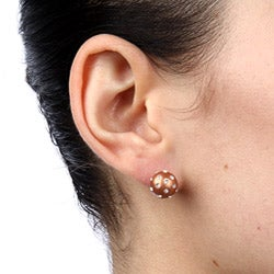 La Preciosa Sterling Silver and Bronze Enamel Embedded Crystal Stud Earrings - Thumbnail 2
