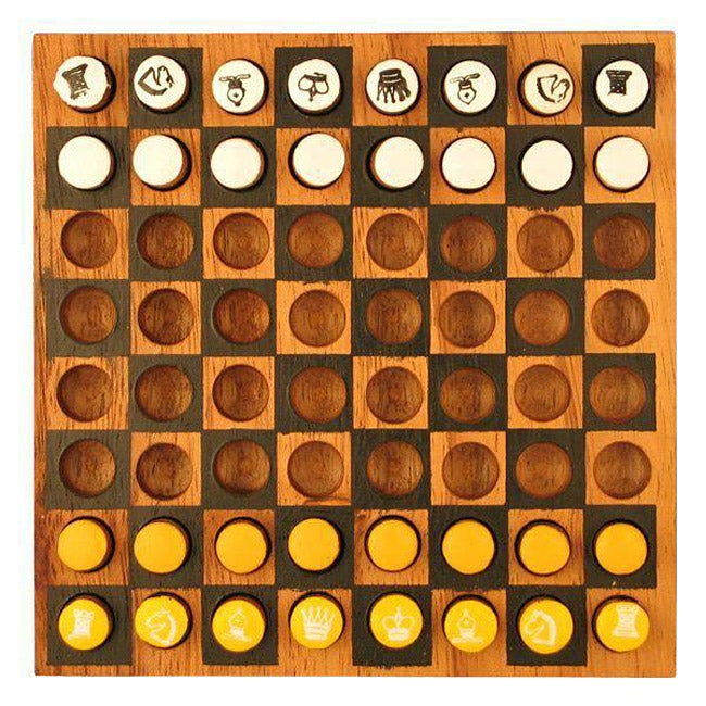 Wood Travel Chess/Checkers Game (Thailand)