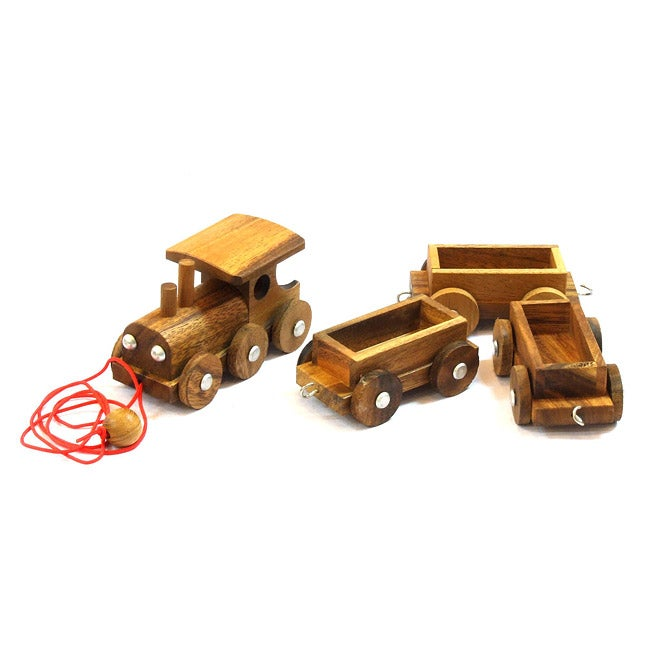 Wooden Steam Engine and Train Toy (Thailand)
