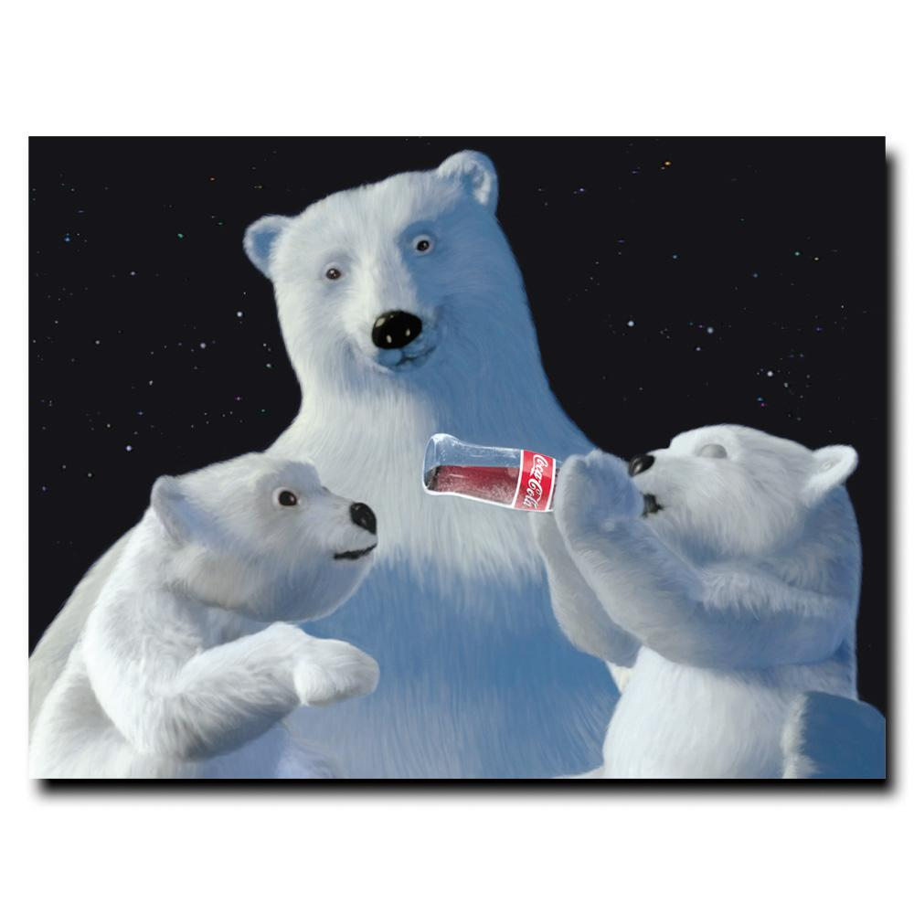 Trademark 'Coke Polar Bear with Cubs and Coke Bottle' Can...