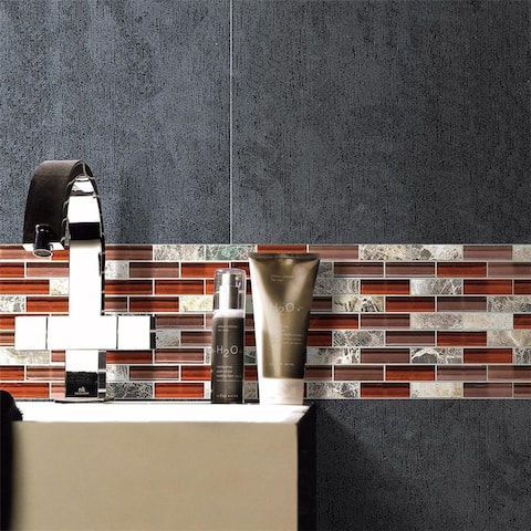 SomerTile 11.75x11.75-inch Reflections Subway Bordeaux Glass and Stone Mosaic Wall Tile (10 tiles/8.8 sqft.)