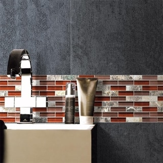 SomerTile 12x12-in Reflections Subway 5/8x2-in Bordeaux Glass/Stone Mosaic Tile (Pack of 10)|https://ak1.ostkcdn.com/images/products/5550729/P13324707.jpg?impolicy=medium