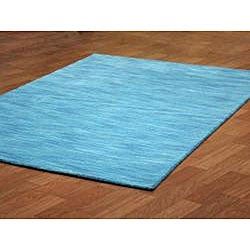 Hand-tufted Fusion Blue Wool Rug (5' x 8') - Thumbnail 1