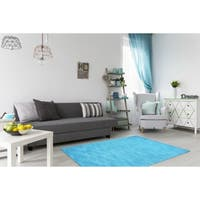 Hand-tufted Blue Fusion Wool Rug (8' x 10') - 8' x 10'