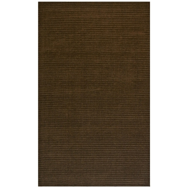 Hand-Tufted Brown Wool Pulse Rug (5' x 8') - 5' x 8'