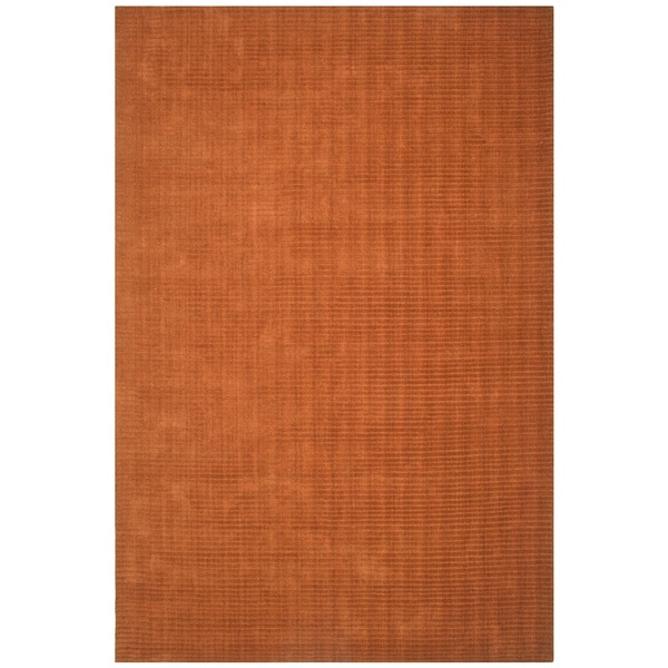 Hand-tufted Pulse Orange Wool Rug (5' x 8')