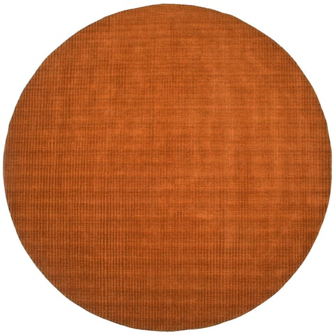 Hand-tufted Pulse Orange Wool Rug (6' Round) - 6' x 6'