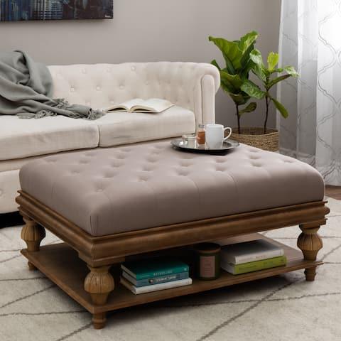 The Gray Barn Kokalari Light Brown Wood Ottoman w/ Taupe Cushion