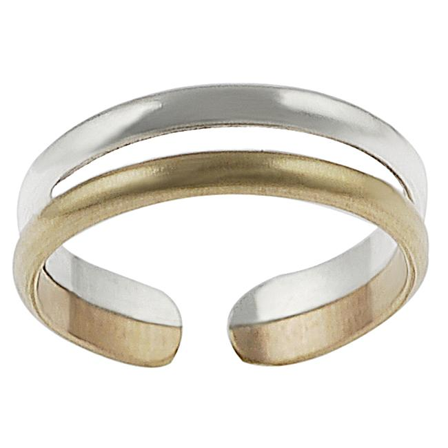 Journee Collection Two-tone Sterling Silver Two-band Toe Ring