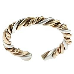 Journee Two-tone Sterling Silver Twisted Toe Ring