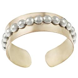 Journee Collection Two-tone Sterling Silver Beaded Toe Ring