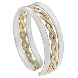 Goldfill Sterling Silver Braided Adjustable Toe Ring - Thumbnail 1