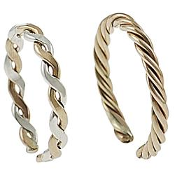 Journee Collection Goldfill Two-Tone Two-Piece Sterling-Silver Toe Ring Set