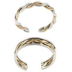 Journee Collection Sterling Silver Two-toned Two-piece Toe Ring Set
