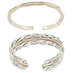 Journee Collection Sterling Silver Two-tone Two-piece Toe Ring Set