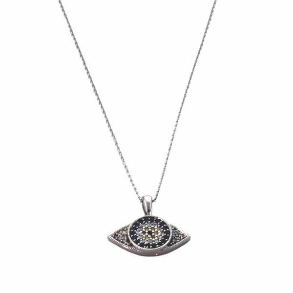 NEXTE Jewelry Silvertone Cubic Zirconia 'Ward Off the Evil Eye' Necklace