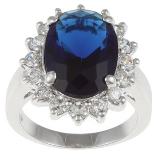 Sterling Essentials Sterling Silver Blue Glass and Cubic Zirconia Diana Ring