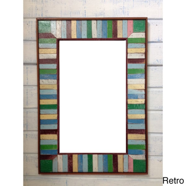 Boat Wood Dark Accent Multicolor Frame Mirror  , Handmade in Thailand