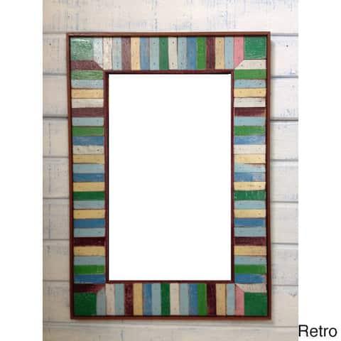 Boat Wood Dark Accent Multicolor Frame Mirror , Handmade in Thailand