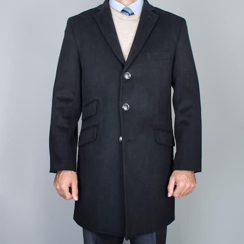 Men's Black Wool Carcoat