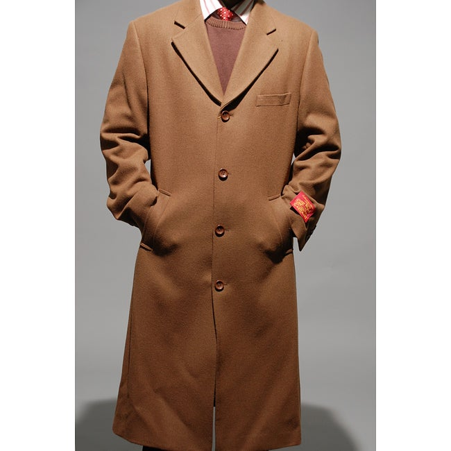 Men's Chesnut Wool and Cashmere Overcoat
