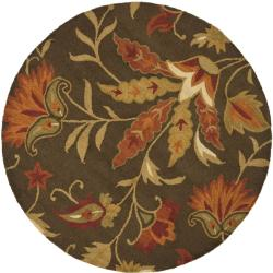 Safavieh Handmade Blossom Gardens Brown Wool Rug (6' Round)