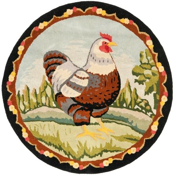 Safavieh Handmade Novelty Chicken Multi Wool Rug - 3' x 3' Round