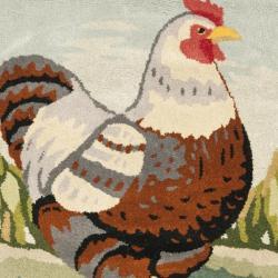 Safavieh Handmade Novelty Chicken Multi Wool Rug (4' Round) - Thumbnail 2