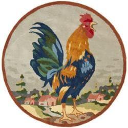 Safavieh Handmade Novelty Rooster Multi Wool Rug (3' Round)