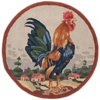 Safavieh Handmade Novelty Rooster Multi Wool Rug - 3' x 3' Round