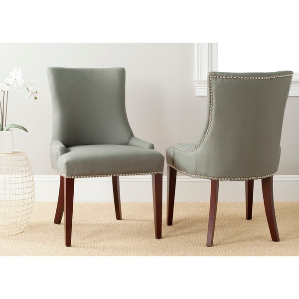 Safavieh En Vogue Dining Becca Grey Linen Side Chair