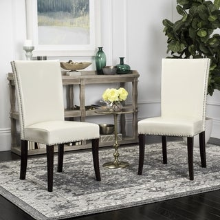 Safavieh En Vogue Dining Metro Leather Cream Dining Chairs (Set of 2)