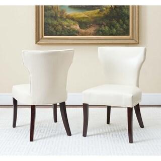 Safavieh En Vogue Dining Matty Cream Bicast Leather/Birchwood Dining Chairs (Set of 2)