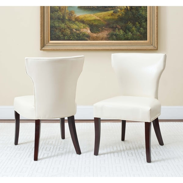 Safavieh En Vogue Dining Matty Cream Bicast Leather/Birchwood Dining Chairs (Set of 2)