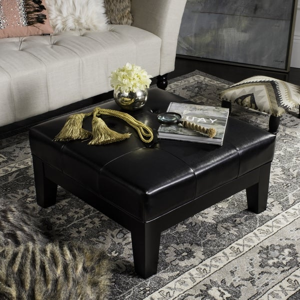 Safavieh Supreme Square Storage Black Leather Ottoman