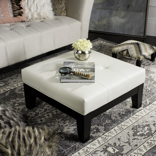 Safavieh Supreme Square White Leather Ottoman