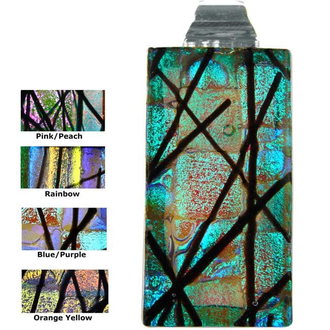Dichroic Glass and Sterling Silver Rectangular Aspen Pendant (Mexico)