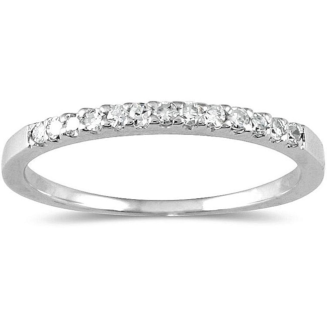 Marquee Jewels 10k White Gold 1/8ct TDW Diamond Ring (H-I, I1-I2)