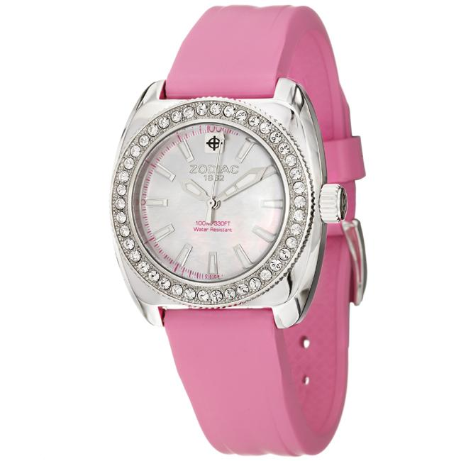 zodiac s racer stainless steel and pink rubber