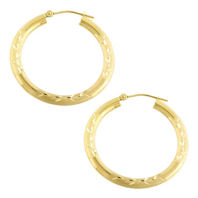 Fremada 14k Yellow Gold Diamond-cut Hoop Earrings (30 mm)