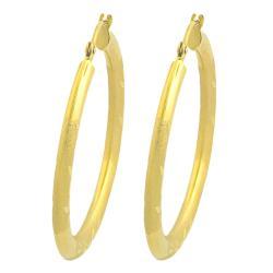 Fremada 14k Yellow Gold Diamond-cut Hoop Earrings (30 mm) - Thumbnail 1