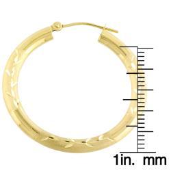 Fremada 14k Yellow Gold Diamond-cut Hoop Earrings (30 mm) - Thumbnail 2