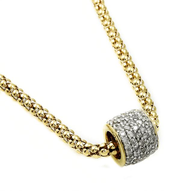 Beverly Hills Charm 14K Goldplated Silver 1ct TDW Diamond Glitter Ball Necklace