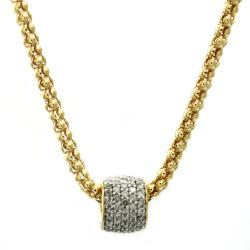Beverly Hills Charm 14K Goldplated Silver 1ct TDW Diamond Glitter Ball Necklace - Thumbnail 1