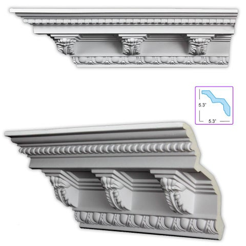 Baroque-style 7.5-inch Crown Molding (Pack of 8)